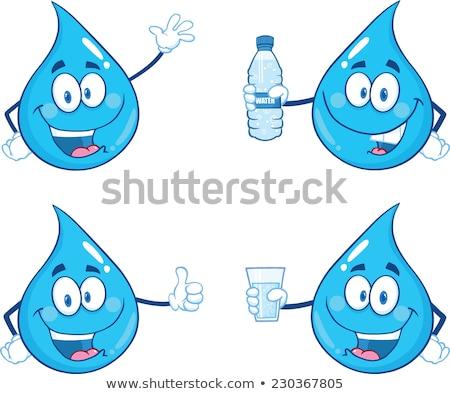 Heureux bleu goutte d'eau mascotte dessinée personnage isolé Photo stock © hittoon