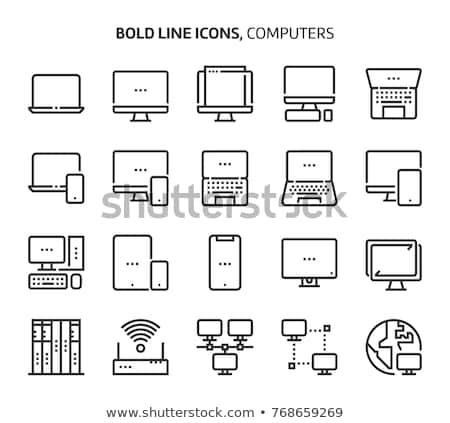 Banco de dados linha ícones networking moderno Foto stock © Genestro