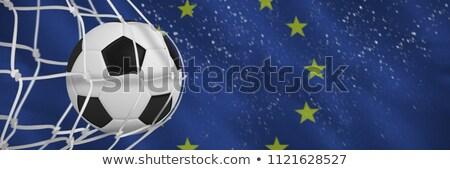 Futballabda gól net közelkép európai zászló Stock fotó © wavebreak_media