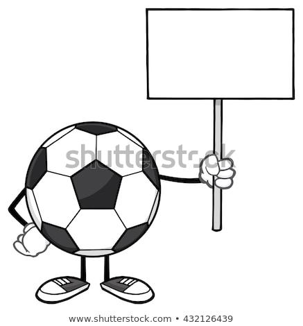 Soccer Ball Faceless Cartoon Mascot Character Holding A Blank Sign Stock photo © hittoon