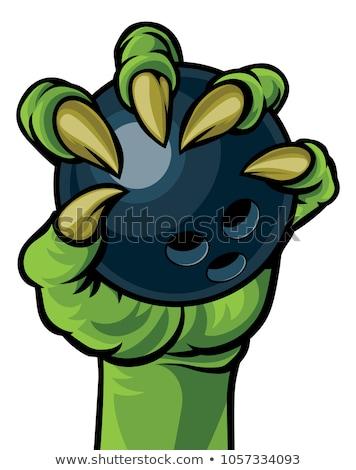 Monster animal claw holding Ten Pin Bowling Ball Stock photo © Krisdog