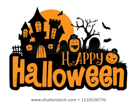 zombie party spider web text for halloween holiday stock photo © orensila