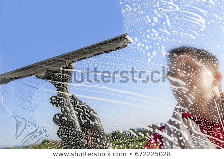 high-rise · janela · máquina · de · lavar · limpador · homem - foto stock © blamb