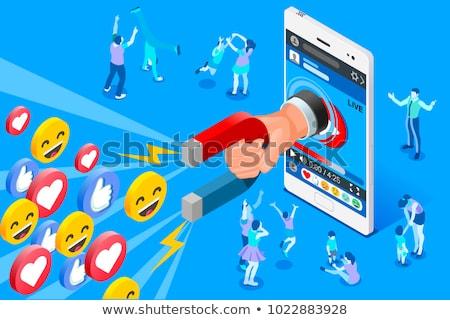 vídeo · e-mail · marketing · isométrica · vetor · mão - foto stock © tarikvision