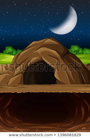 Cave at night with moon scene Stock photo © bluering