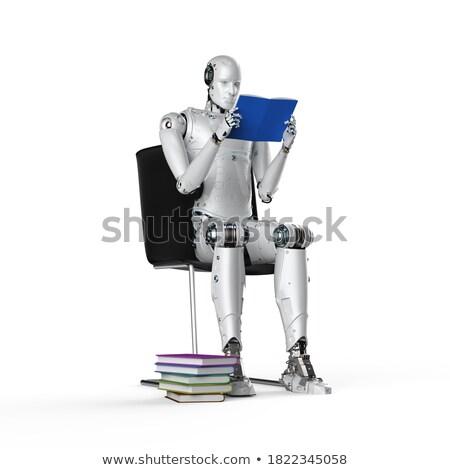 3D humanoide robot sesión libro Foto stock © texelart