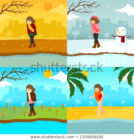 üzücü yalnız kız kış sezonu sahne örnek Stok fotoğraf © svvell
