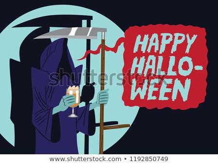 Stock fotó: Boldog · halloween · poszter · modern · rajzfilmfigura · illusztráció