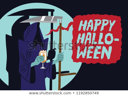 gelukkig · halloween · poster · kwaad · viering · terreur - stockfoto © decorwithme