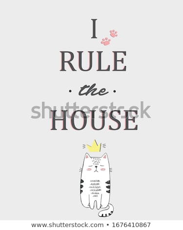 cat princess royal home pet in crown vector illustration stock photo © maryvalery