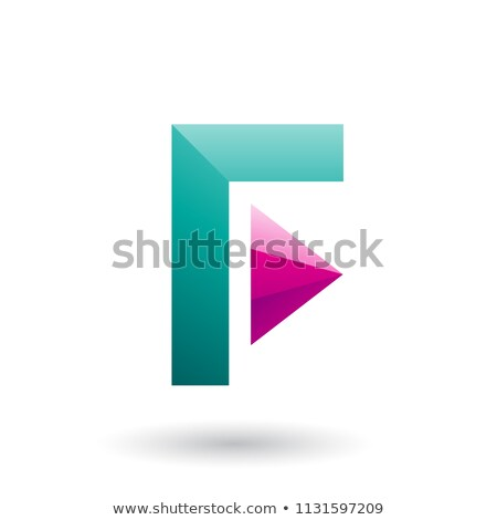 Persian Green Icon of Letter F with a Triangle Vector Illustrati Stock photo © cidepix