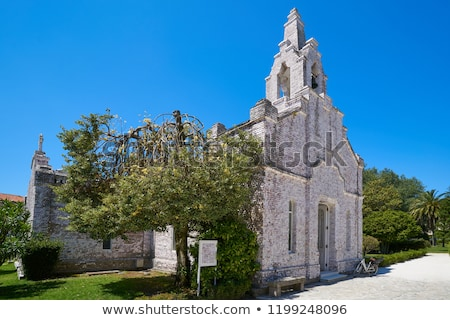 La toja island Toxa Chapel made of sea shells Stock photo © lunamarina