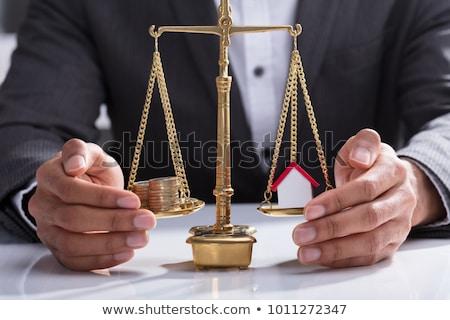 Moedas casa modelo equilíbrio justiça Foto stock © AndreyPopov