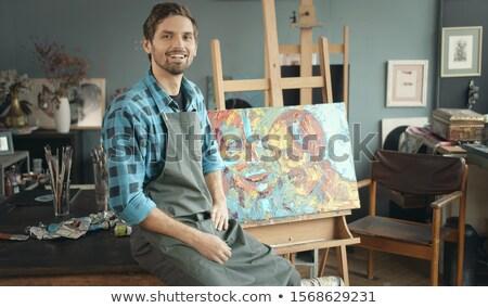 小さな 男性 アーティスト 作業 新しい 絵画 ストックフォト © Elnur