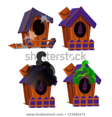 Set of wooden birdhouses with a bat inside and poisonous smoke isolated on white background. Sketch  Stock photo © Lady-Luck