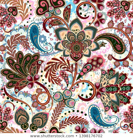 colored floral background in paisley garden indian style stock photo © lissantee