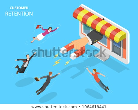 Flat isometric vector concept of retention strategy, attracting customer. Stock photo © TarikVision