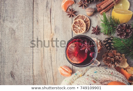 christmas card with mulled wine and gifts stock photo © karandaev