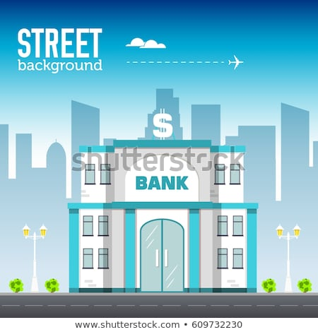 bank building in city space with road on flat syle background concept. Vector illustration design Stock photo © Linetale