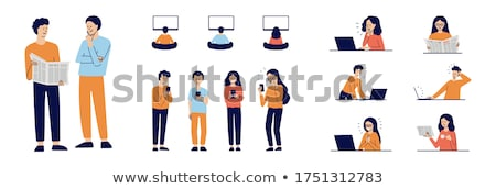People Reading and Checking Vector Illustration Stock photo © robuart
