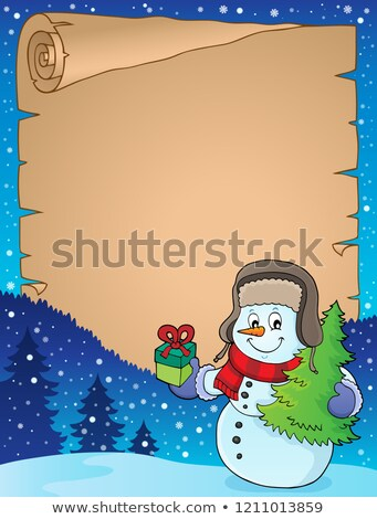 Christmas snowman subject parchment 1 Stock photo © clairev