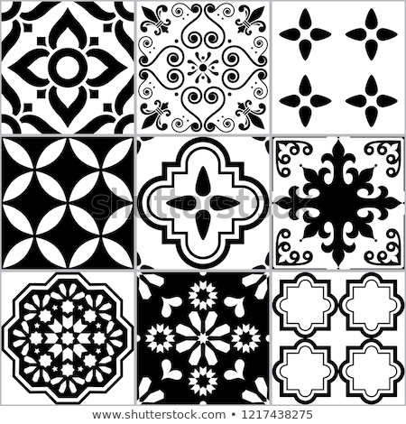 tile vector seamless azlejos pattern spanish or portuguese mosaic in black and white abstract and stock photo © redkoala