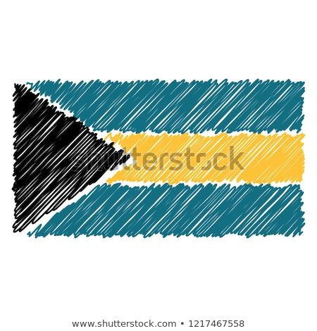 Hand Drawn National Flag Of Bahamas Isolated On A White Background. Vector Sketch Style Illustration Stock photo © garumna