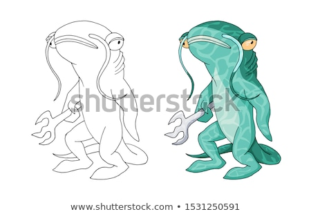 Nudzić cartoon wielorybów ilustracja patrząc Zdjęcia stock © cthoman