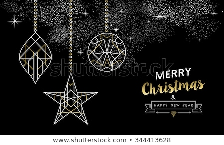 Merry christmas happy new year outline bauble deco Stock photo © cienpies