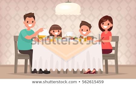 Moeder kinderen maaltijd eettafel illustratie voedsel Stockfoto © colematt