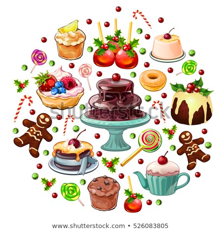 Christmas ball assembled with abundance of sweets and pastries with Christmas decorations. Sample of Stock photo © Lady-Luck