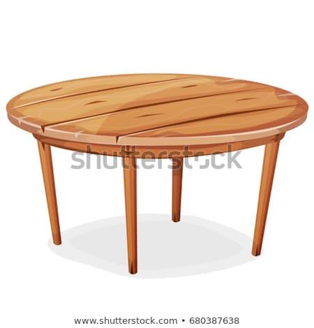 Ahşap masa vektör yalıtılmış örnek beyaz tablo Stok fotoğraf © MarySan