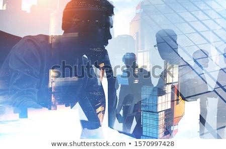 Silhouet zakenlieden kantoor teamwerk Stockfoto © alphaspirit