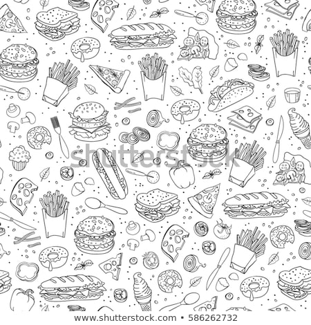 Stock photo: Fastfood hand drawn doodles seamless pattern. Fast food background