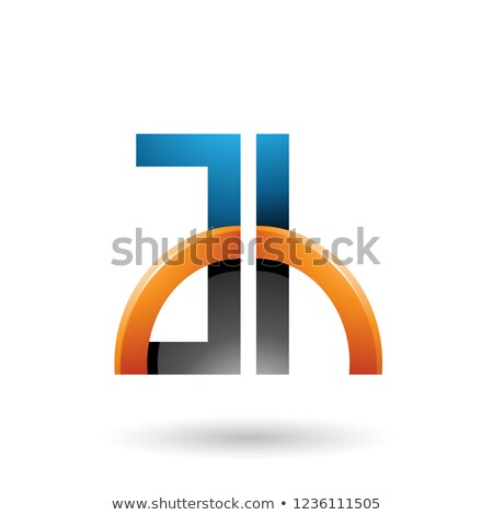 Blue and Orange Letters A and H with a Glossy Half Circle Vector Stock photo © cidepix