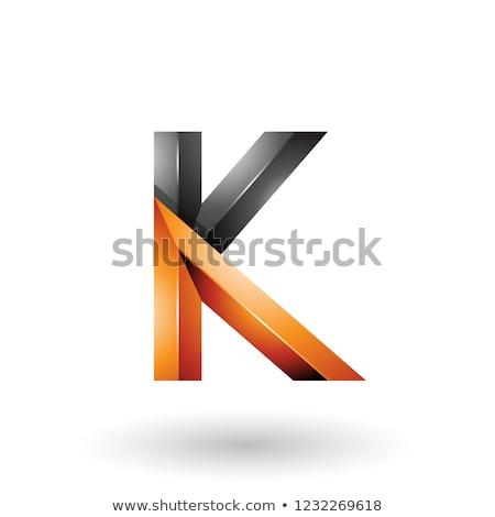 Stock photo: Orange and Black Glossy 3d Geometrical Letter K Vector Illustrat