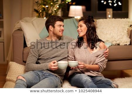 Feliz casal potável cacau casa lazer Foto stock © dolgachov