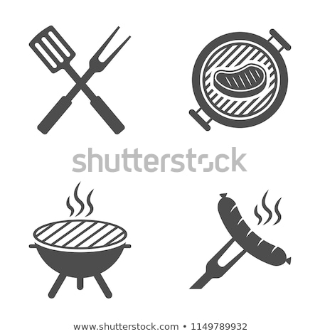 bbq cutlery barbecue icons set vector illustration stock photo © robuart