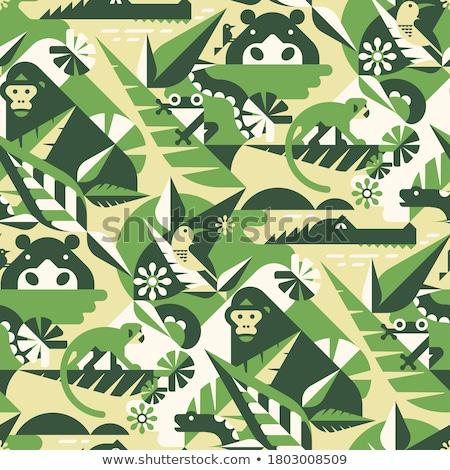 sevimli · mutlu · gülen · yeşil · kurbağa · karikatür - stok fotoğraf © colematt