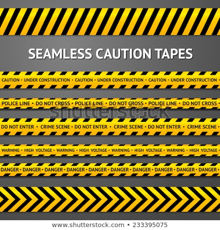 Set of seamless yellow and black warning tapes, vector illustration. Stock photo © kup1984