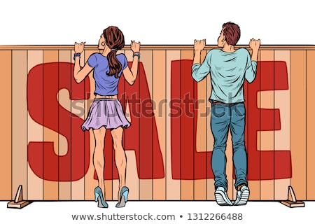 woman looks over the fence sale house real estate stock photo © studiostoks