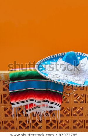 Bleu mexican chapeau orange tuiles mur Photo stock © lunamarina