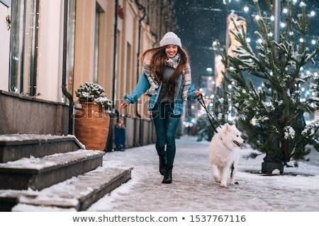 девушки · улице · зима · красный · свитер - Сток-фото © Stasia04