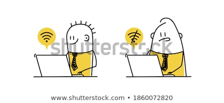 businessman with computer network hand drawn outline doodle icon stock photo © rastudio