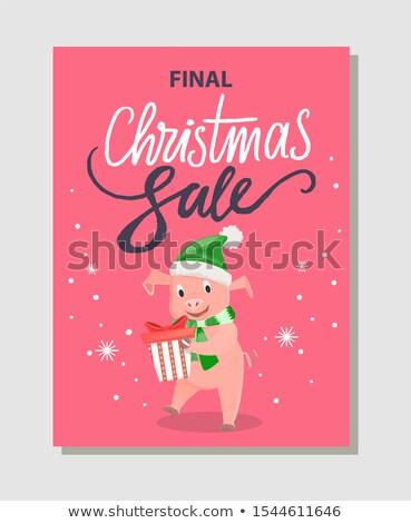 Finale Natale vendita poster felice suino Foto d'archivio © robuart