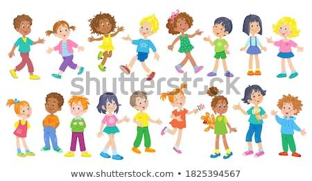 Szett lány különböző hajszín illusztráció háttér Stock fotó © bluering