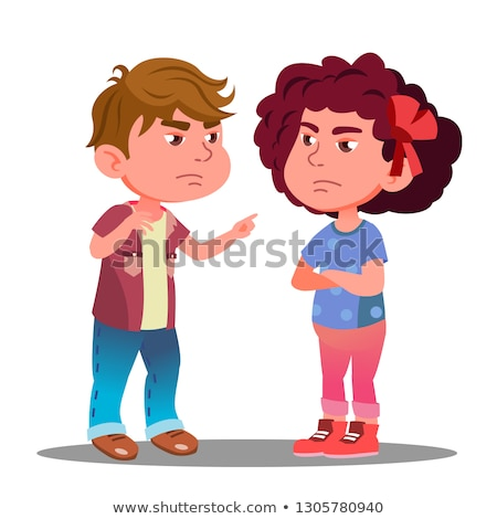 Little Boy And Girl Offended On Each Other Vector. Isolated Illustration Stock photo © pikepicture