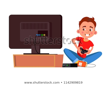 Player playing online video game at computer vector illustration. Stock photo © RAStudio