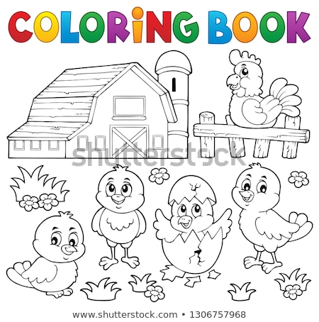 coloring book chickens and hen theme 2 stock photo © clairev