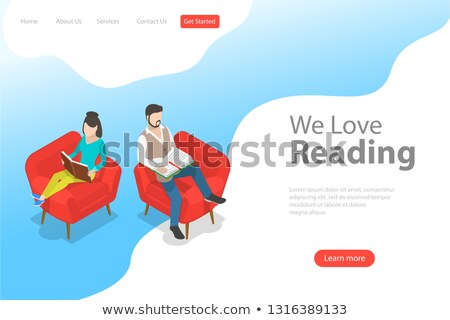 Isometric flat vector landing page template of reading, favorite book. Stock photo © TarikVision